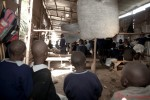 There are no walls in this informal school in Mathare therefore when You stand on one end, you can see till the end of the classroom block.