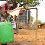 Women fetch clean water from a borehole sunk by CWS in Kadokoi.