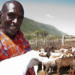 Simon Ngararika holds a kid in the goat pen at Mai Mahiu. Simon is a student at a functional adult literacy class held at Canan Primary School.
