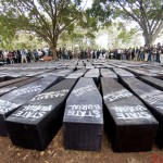 Coffins laid out before The State Funeral protest that was held in Nairobi on 16th January 2013. The protest was held to fight against perks that outgoing M.P's wanted to award themselves.
