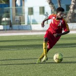 A Horseed player in action during a game between Heegan and Horseed football clubs at Banadir Stadium in Mogadishu on 31st January 2014. Built in 1956 by the Italian Olympic committee and later expanded by the Chinese in the 1980s, Banadir Stadium was at one point the largest and most modern facility in Africa and the Arab world. It hosted many international competitions including the CECAFA tournament in 1973, All Arab games, All African games and many others. The Stadium lost its glory after many years of war but was reconstructed in 2013 under the FIFA funded project Win in Africa with Africa€. It was even kitted out with AstroTurf, an artificial football turf.